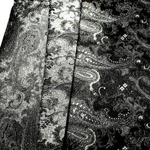 Dress Maker Fabric Elegant Black Silver Paisley Me